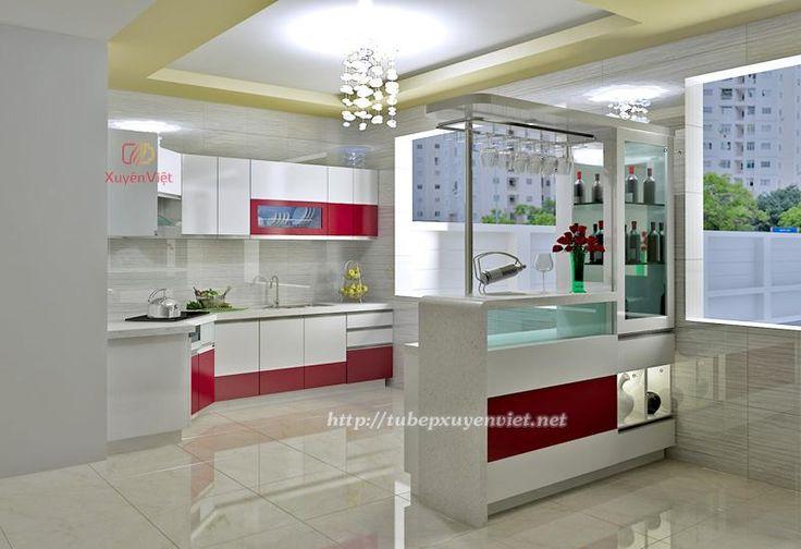 Mẫu bếp đẹp có quầy bar và tủ rượu sang trọng cho nhà bếp XV115