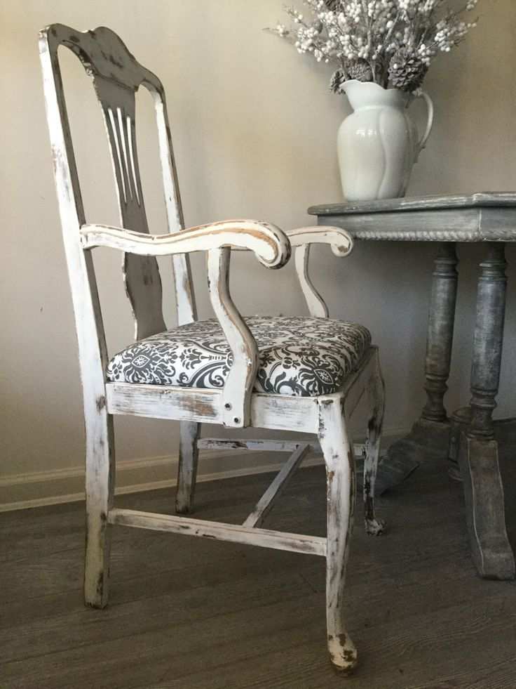 French Provincial Arm Chair, Queen Anne Desk Chair, Upholstered, English Style, Distressed, Original White Paint Sealed with Wax, Old! by SassafrasShoppeCo on Etsy https://www.etsy.com/listing/480892602/french-provincial-arm-chair-queen-anne