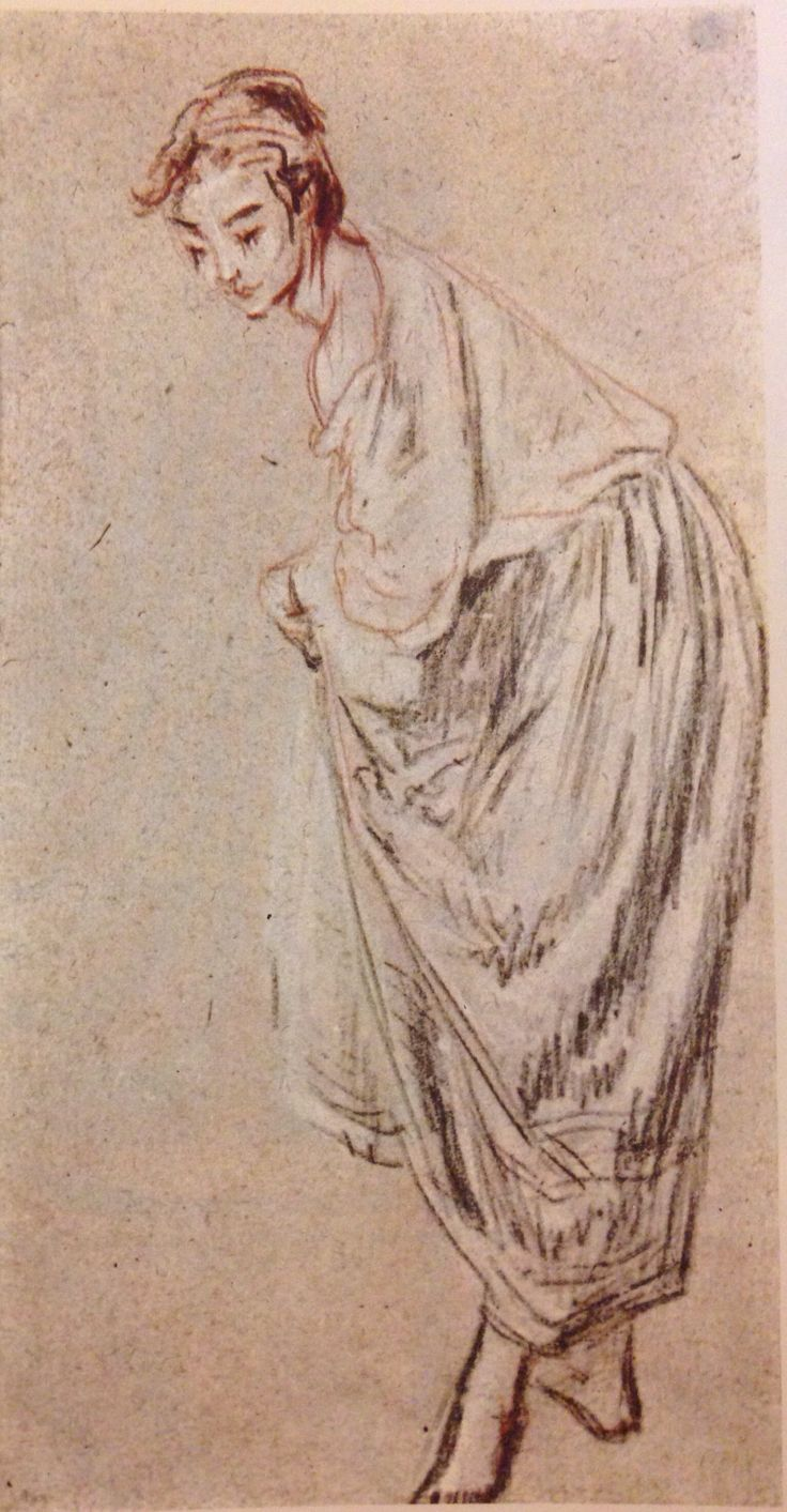 Jean Antoine Watteau, Young Girl Bending Over.  Black and red chalk on warm pinkish tan paper, 260 x 136 mm., Frankfort on Main Staedel Art Institute.