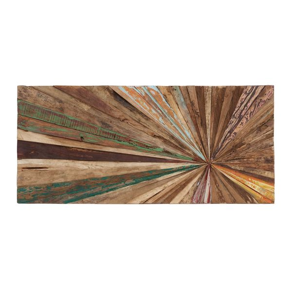 This unique piece of wall art is a stunning addition to any room. Each piece is made from reclaimed wood, which ensures that no two are the same. Perfect for hanging above a bed, mantle, or couch, thi
