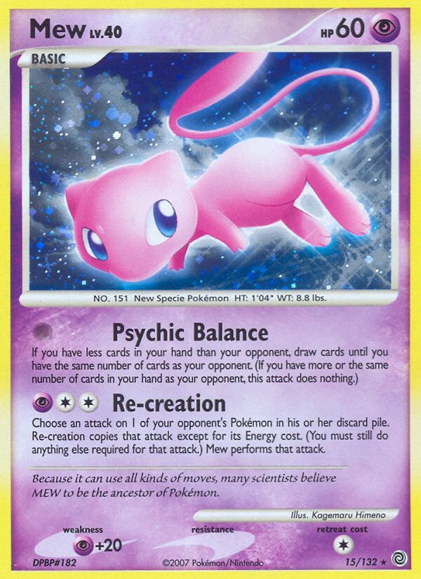 Mew on a metal foil background of a #Pokemon deck card. Cute, but occasionally dangerous. I heard the legend making deck had Mew EX at 90HP.