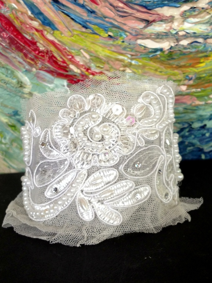 $40.00 Lace and vintage tulle cuff with pearls and Swarovski crystals