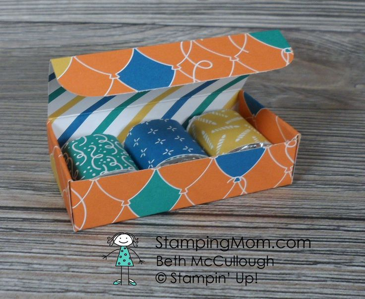 Stampin Up 3 Nugget Box made with Party Animal DSP from the 2017 Occasions catalog, designed by demo Beth McCullough. Please see more card and gift ideas at www.StampingMom.com #StampingMom #cute&simple4u