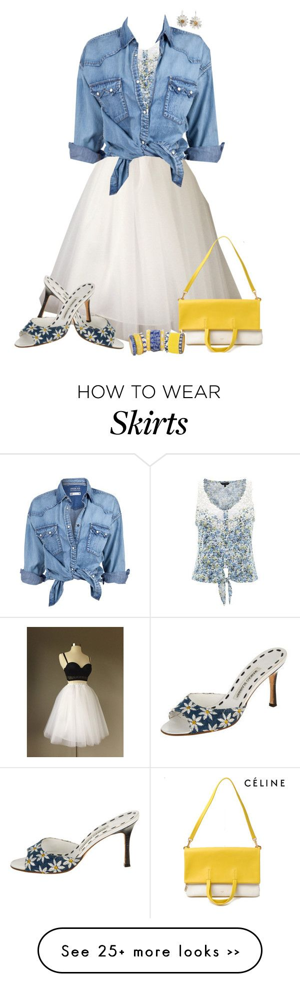 """Denim Shirt & White Tulle Skirt"" by dkelley-0711 on Polyvore"