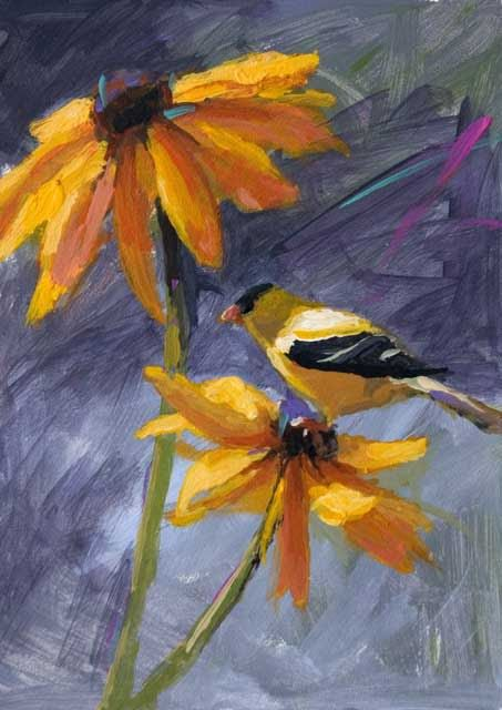 Little Yellow Bird >> paintings of yellow finches images | ... Painting Journal: Yellow Finch 7 x 5 Acrylic Flower and ...