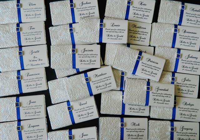 www.heartsandthemes.com.au Wedding invitations matching chocolate bars blue theme