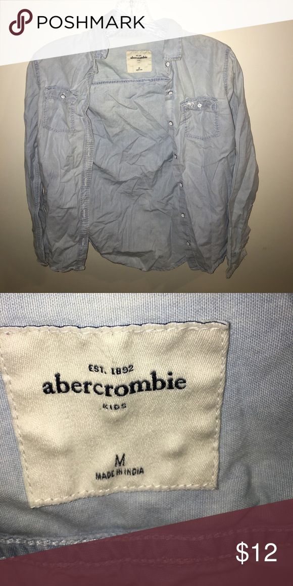 abercrombie kids girls denim top is button down perfect condition true to size no trades abercrombie kids Shirts & Tops Button Down Shirts