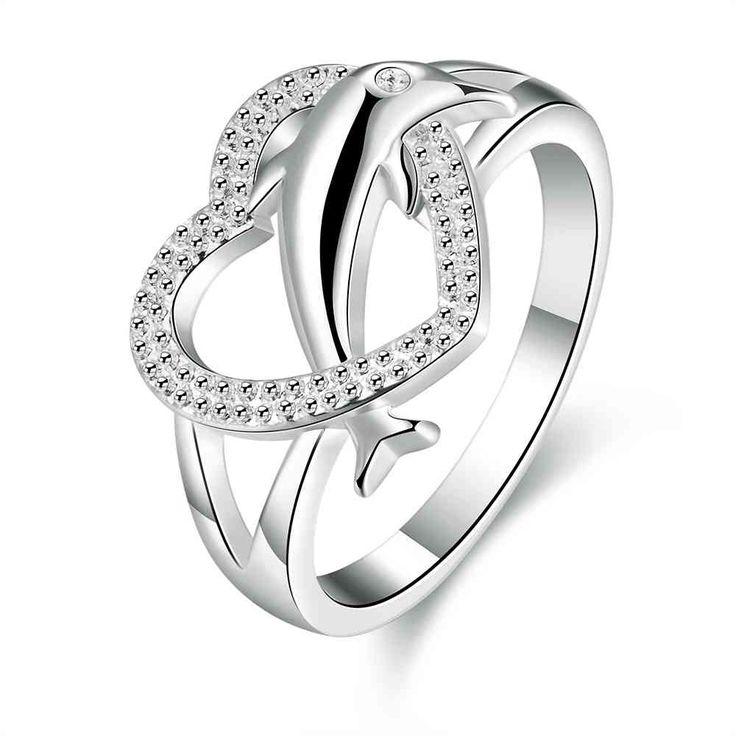 O Envio gratuito de compras online india anel de coração de prata 925 anéis De Noivado Coração Golfinho opala fashiion jóias SMTR708(China (Mainland))