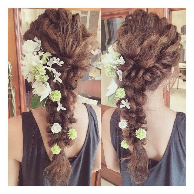 昨日のセミナー内でのアレンジ✨ 受講者の方の髪の毛を借りて✨ 造花でも♡ #ブライダル #ウェディング #オーダーメイドフォトウェディング #東京 #lily #ネイル #ヘアメイク