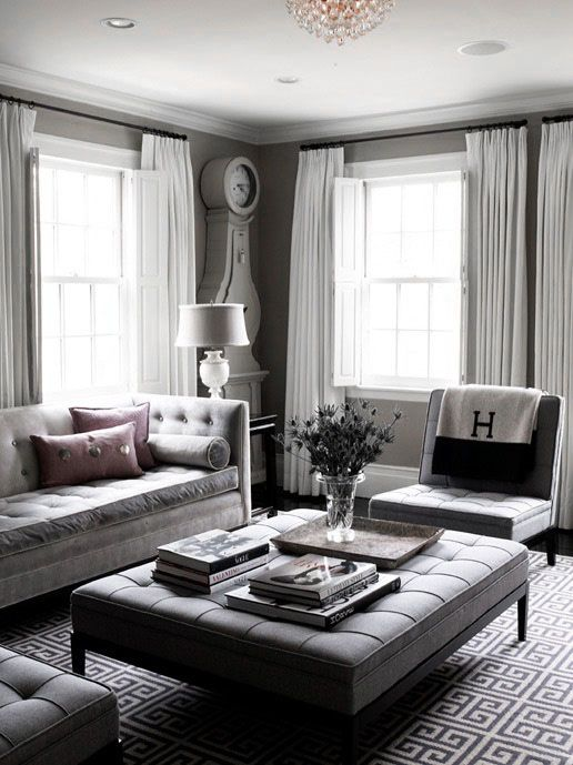 ♅ Dove Gray Home Decor ♅  grey living room with tufted furniture