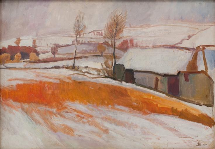 Overkarby Bakke. Vinter (1917) by Fritz Syberg -- Danish artist