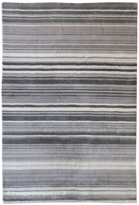 Delightful Tibesti Grey Rug A Striped Handmade 100 Wool In Various Shades Of