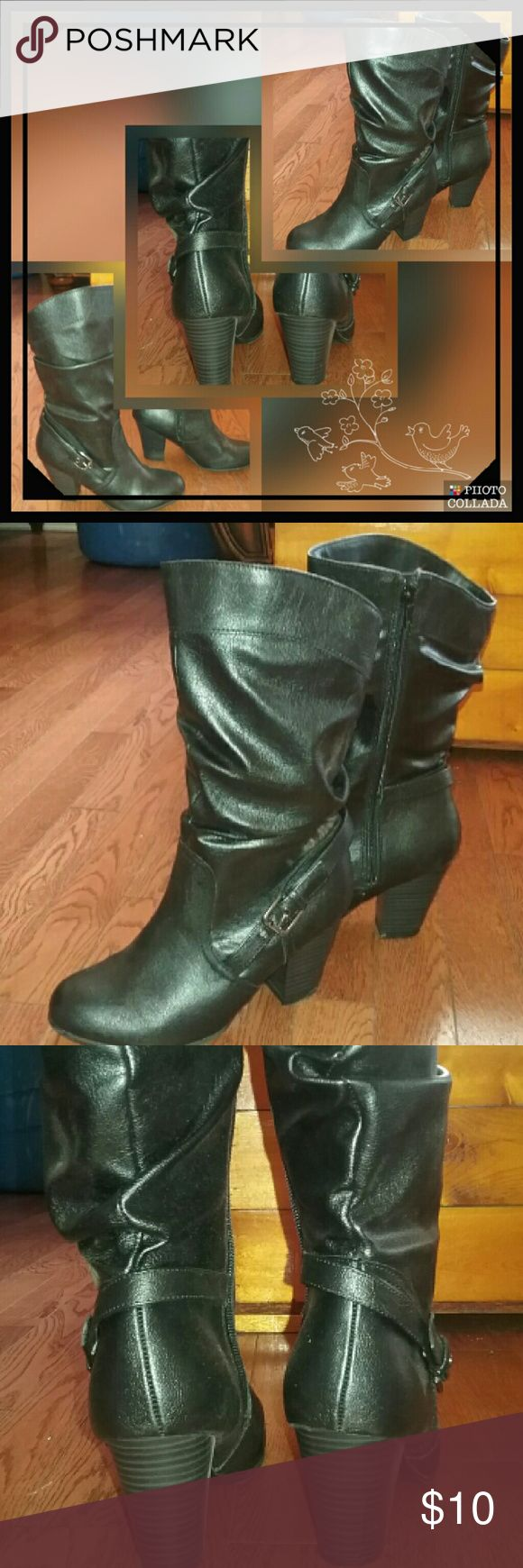 Ladies black boot, worn once only Black boot, side zip,  buckle,  chunk heel Shoes Heeled Boots