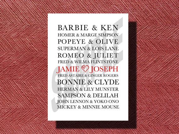 #Wedding Reception Famous Couples #Sign by WeddingsByJamie on Etsy, $10.00