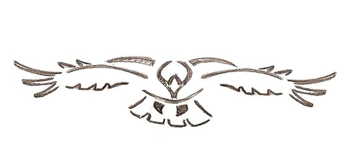 Tribal Hawk flying Tattoo Design