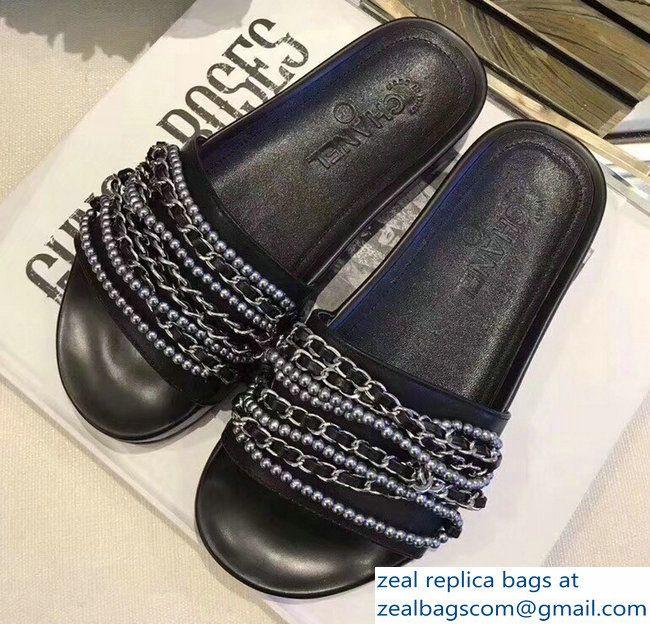 e2cfae9b7fe9 Chanel Chain Mules Slipper Sandals Pearl Black Silver 2018
