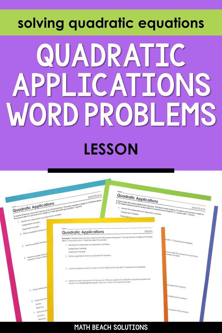 Quadratic Equations Applications Lesson Quadratics Algebra Lesson Plans Equations [ 1104 x 736 Pixel ]