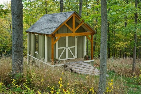 Photo of a timber frame shed by Woodhouse