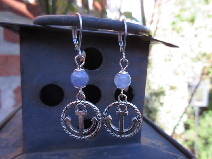 """Ohrringe - Ohrringe """"Anker mit Aquamarin"""" - ein Designerstück von Fleur-de-bonheur bei DaWanda"""