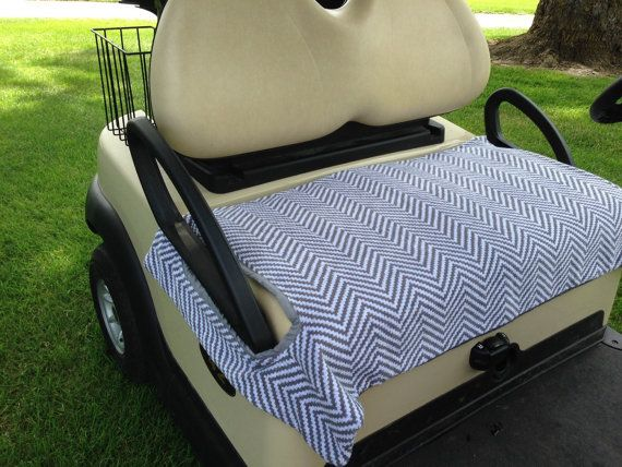 Gray and White Chevron Golf Cart Seat Cover by GolfMeAround