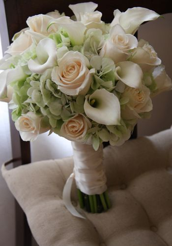 pale green hydrangea cream roses white calla lily bouquet