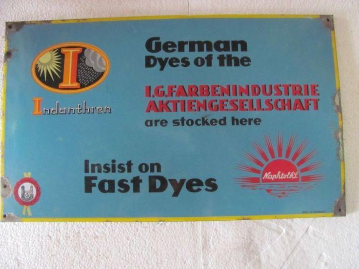 Porcelain/Enamel Sign of Indanthern German Dyes ADV EHS