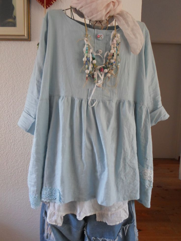 DIY  sewing by Tina Givens patterns..blue Linen, old vintage linenshirt.and my…