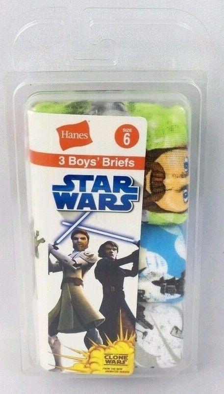 Hanes Youth 100% Cotton Star Wars Clone Wars Underwear Briefs 3 Pairs Boys SZ 6  #Hanes #Briefs3briefsineachpackage