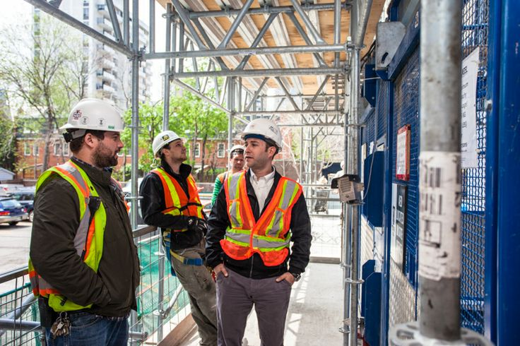 X2 Construction Tour (May 2014) -- Jonathan Freedland chatting with the site super.