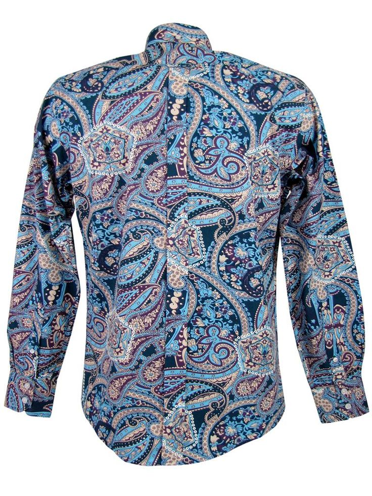 Mens Blue Shirt With White Collar