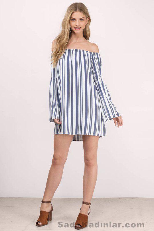 Günlük Elbise 2018 Şık ve Rahat Yazlık Elbiseler Omzu Açık Mavi Çizgili