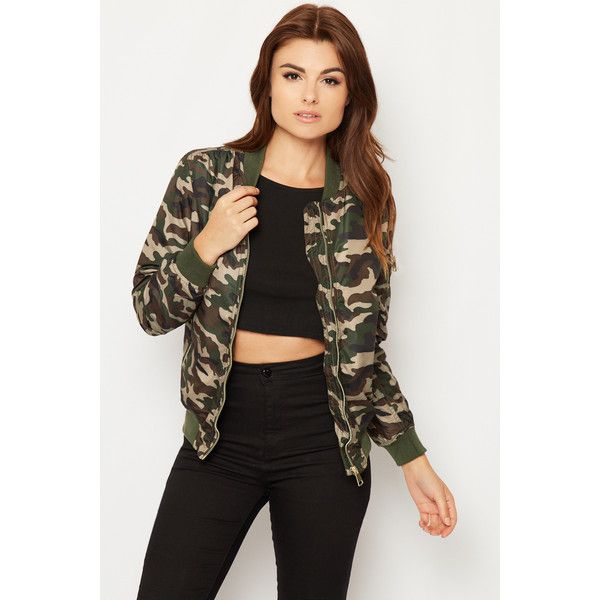 Katelyn Camouflage Combat Jacket (385 CNY) ❤ liked on Polyvore featuring outerwear, jackets, green, bomber jacket, green jacket, camouflage jacket, combat jacket and green flight jacket