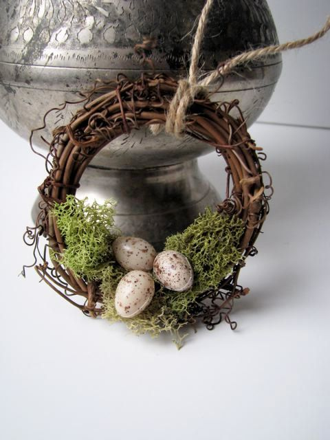 Rustic Wreath Ornament Nest with Moss and Eggs by BellaMiaDesign