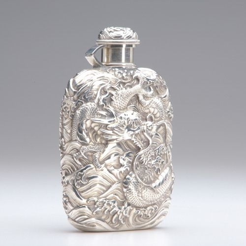 1387: JAPANESE KONOIKE SILVER Flask decorated : Lot 1387