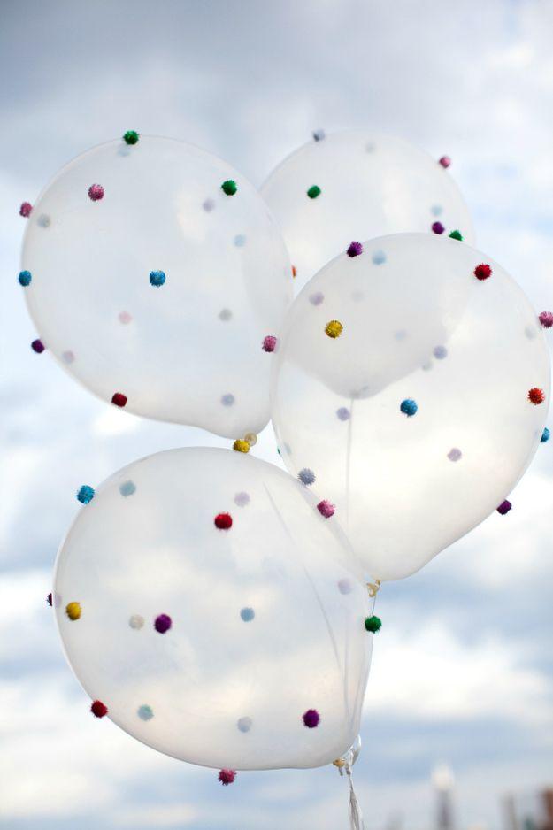 DIY Pom-Pom Balloons | 15 DIY Pom-Pom Projects For Jazzing Up Everyday Items