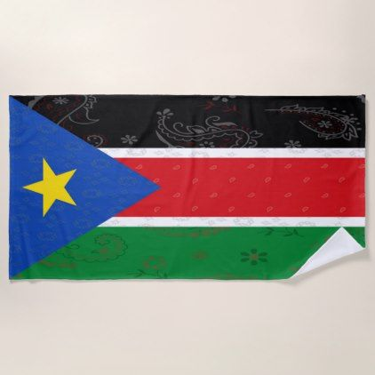 South Sudan Flag Beach Towel - home gifts ideas decor special unique custom individual customized individualized