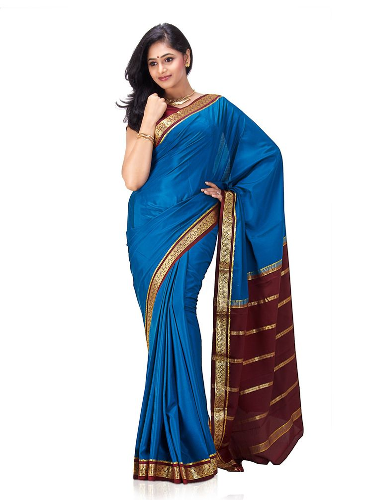 Peacock-Blue-Pure-Mysore-Silk-Saree for Women From Klasyy Fashion For more visit @ http://indianfashionhub.wordpress.com/2014/07/05/the-charm-of-silk-sarees/