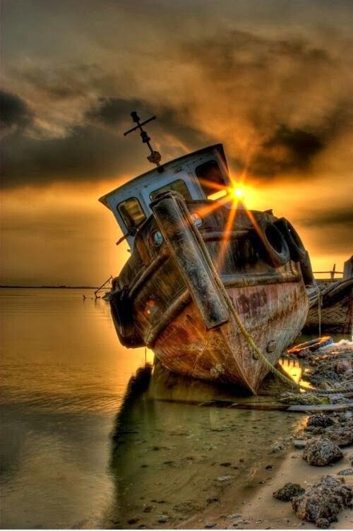 Wow! Nice colors, sunset, sunrise, boat, fishing boat, shore, beach, water, reflection, clouds, colourful, peaceful, solitude, beautiful, photograph, photo