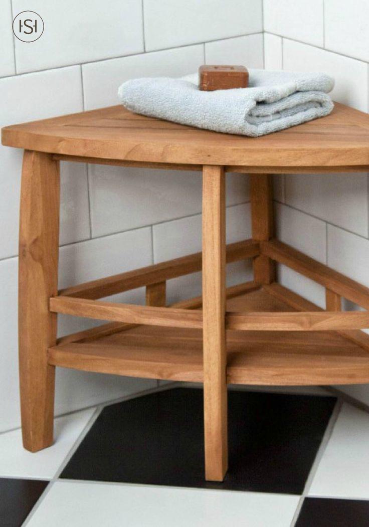 Teak Corner Shower Seat With Shelf Shelves Teak And