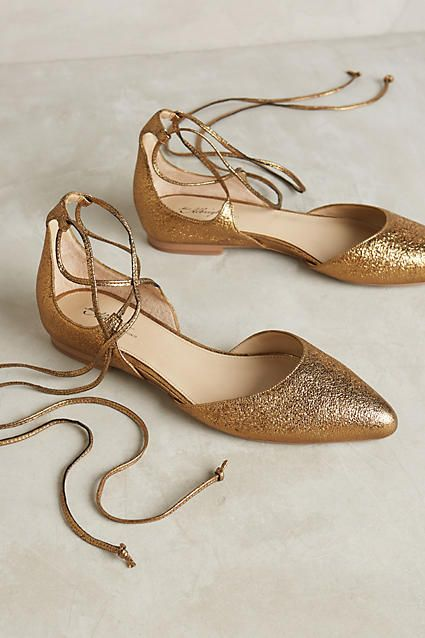Miss Albright Vanessa Gold Lace-Up Flats - anthropologie.com