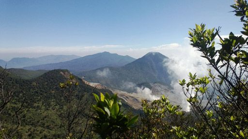 Panoramic: The view atop Mount Papandayan, with its sulfur crater in the background.