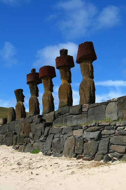 Moais at Anakena Beach, Easter Island, Chile