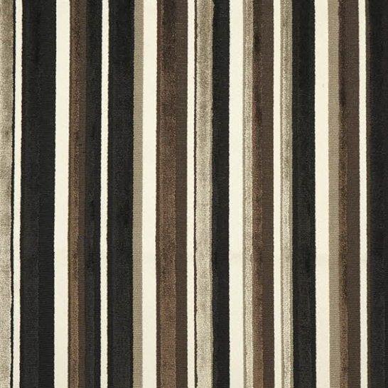 Een strepen jacquard interieurstof beschikbaar in kleur natuurlijk - bruin - zwart.