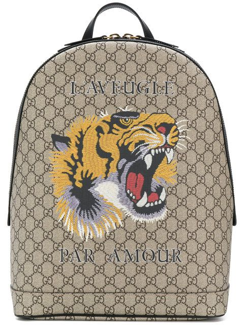 61afe61cdf1 GUCCI GG Supreme tiger embroidered backpack.  gucci  bags  leather   backpacks  cotton