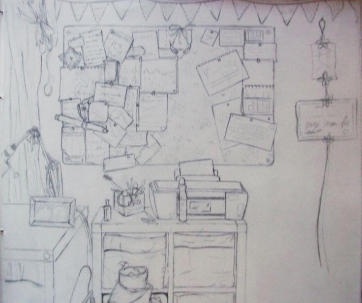 observational line study of my uni room http://jennycarsonpaul.blogspot.co.uk