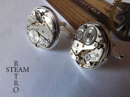 Steampunk Boutons de manchette-18mm suisse mouvement boutons de manchette boutons de manchette - Hommes - boutons de manchette de mariage par Steamretro
