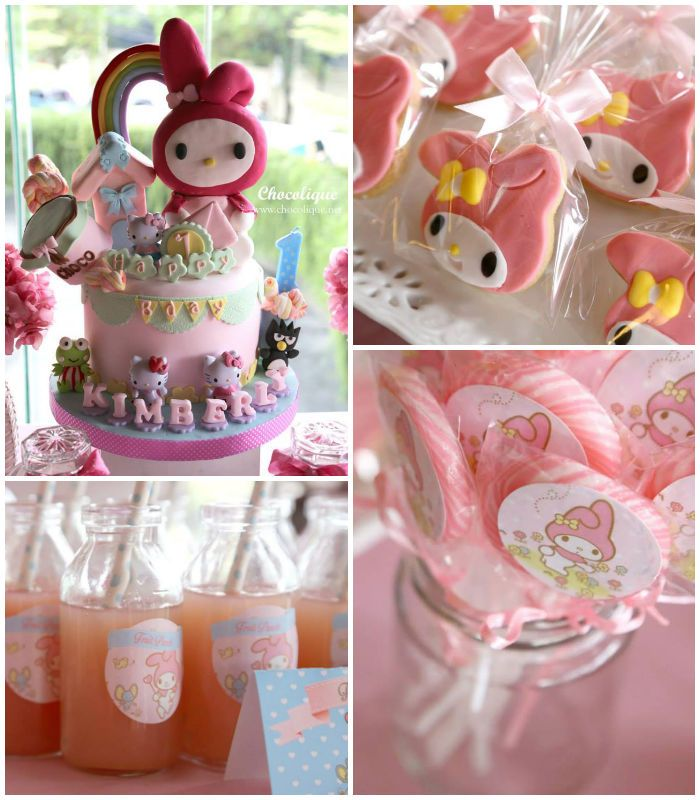 My Melody themed birthday party with Lots of Cute Ideas via Kara's Party Ideas! Full of decorating ideas, cake, cupcakes, games, and more! K...