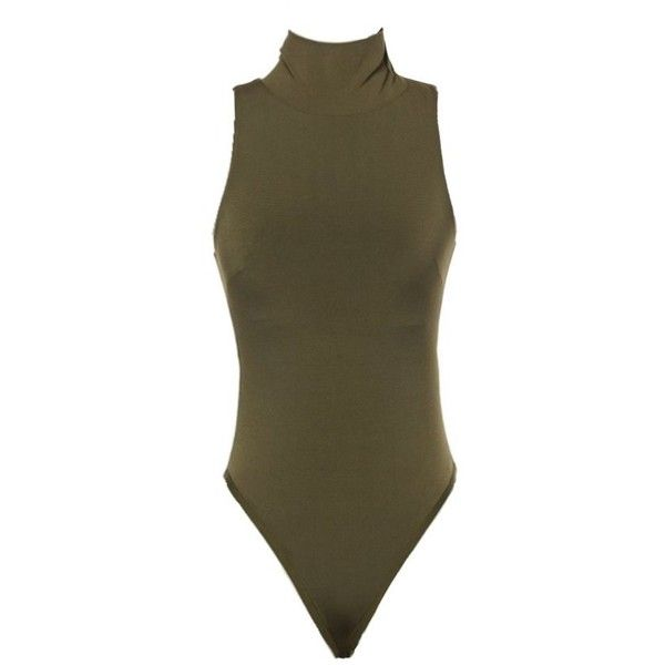 Sleeveless Turtleneck Bodysuit Olive Love ❤ liked on Polyvore featuring tops, olive green turtleneck, olive green bodysuit, brown body suit, sleeveless bodysuit and body suit