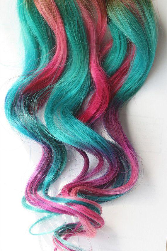 Teal Tye Dye Clip In Hair Extensions, Ombre Hair, Tye Dye Tips,  Hair Wefts, Human Hair Extensions, Hippie hair, Halloween, Peacock Wedding on Etsy, $112.00