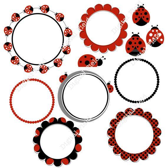 INSTANT DOWNLOAD Ladybug Clip Art Set - digital frames, borders, ladybugs - printable digital clipart